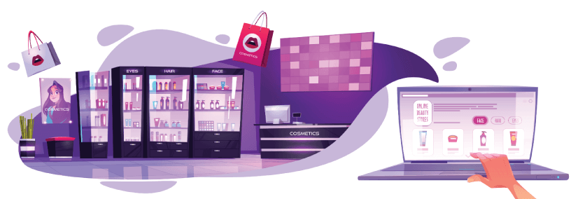 Free Ecommerce Illustrations: Online beauty store banner. concept of eCommerce, mobile shopping on the internet. vector cartoon illustration of cosmetic salon interior and online shop on laptop screen Free Vector