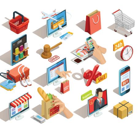 Free Ecommerce Illustrations: Shopping e-commerce isometric icons set Free Vector