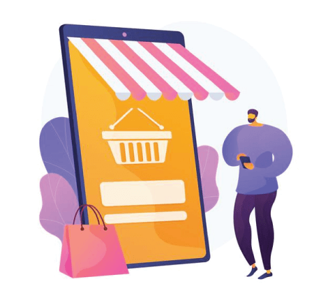 Free Ecommerce Illustrations: Digital marketplace application. remote business. e commerce Free vector