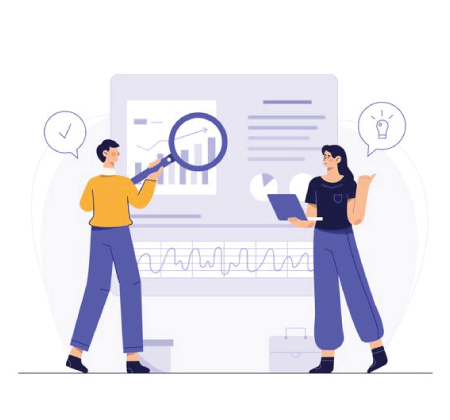 Free Ecommerce Illustrations: Company employees use web search to find ideas for doing business for the company Free Vector