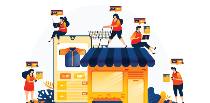 Free Ecommerce Illustrations: shopping and spending money with e-commerce apps Free Vector