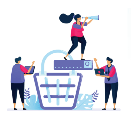 Free Ecommerce Illustrations: Vector illustration for online product shopping cart search. Ecommerce and checkout on the marketplace.
