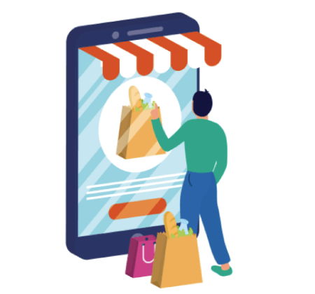 Free Ecommerce Illustrations: online ecommerce with smartphone and man with shopping bags Free Vector