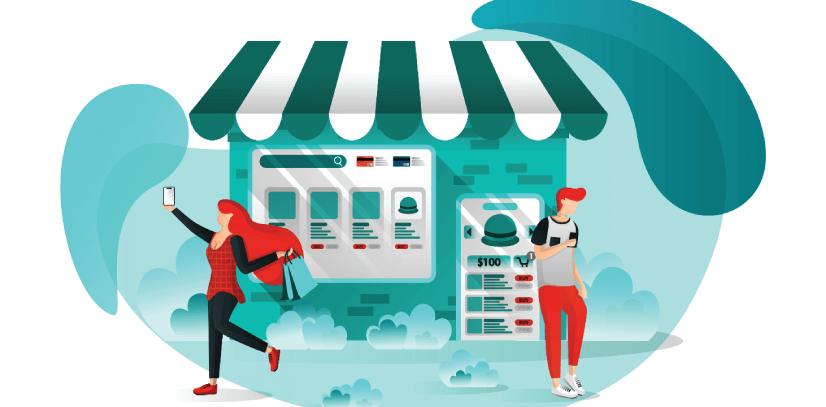 Free Ecommerce Illustrations: E-commerce Digital Marketing Free Vector