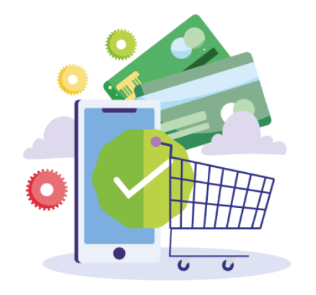 Free Ecommerce Illustrations: Online payment and e-commerce via mobile app Free Vector