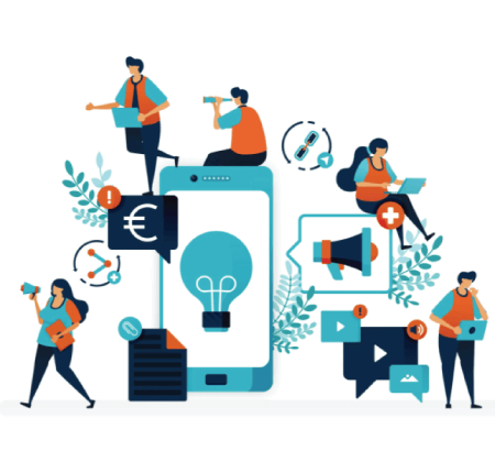 Free ecoomerce Illustrations: Business ideas by promoting products via mobile.