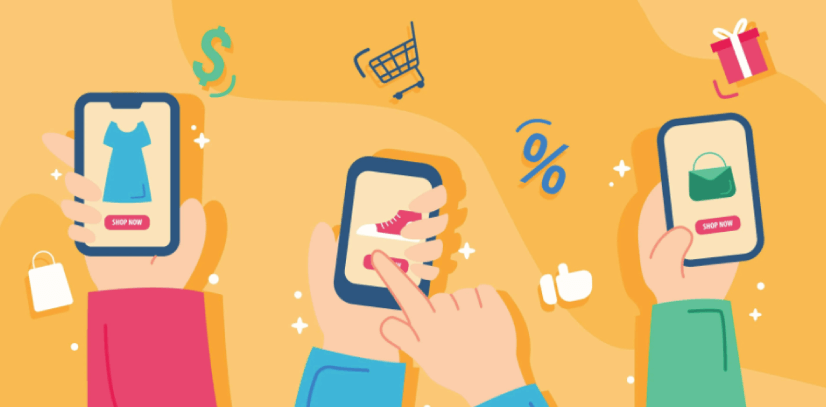 Free Ecommerce Illustrations:l E-commerce smartphone technology design Free Vector