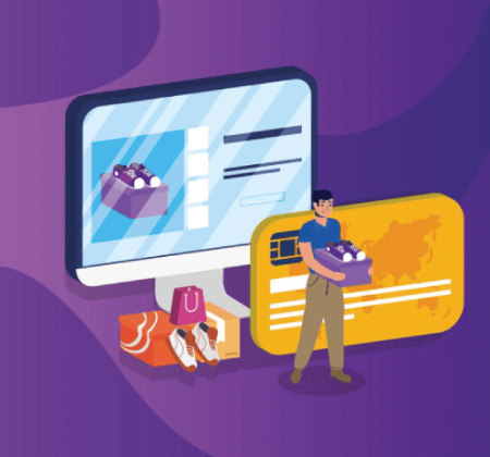 Free Ecommerce Illustrations: shopping online ecommerce with man buying in desktop and credit card Free Vector