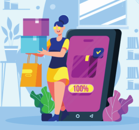Free Ecommerce Illustrations: Woman Holding Shopping Bags
