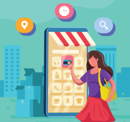 Free Ecommerce Illustrations: City Women Selecting Items Via Her Smartphone Concept Free Vector