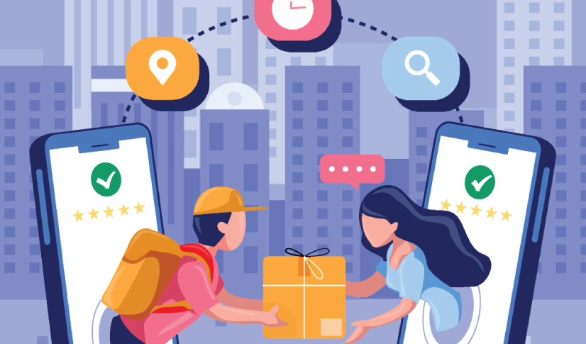 Free Ecommerce Illustrations: Man Delivered Goods to Woman Through Mobile Smartphone Free Vector