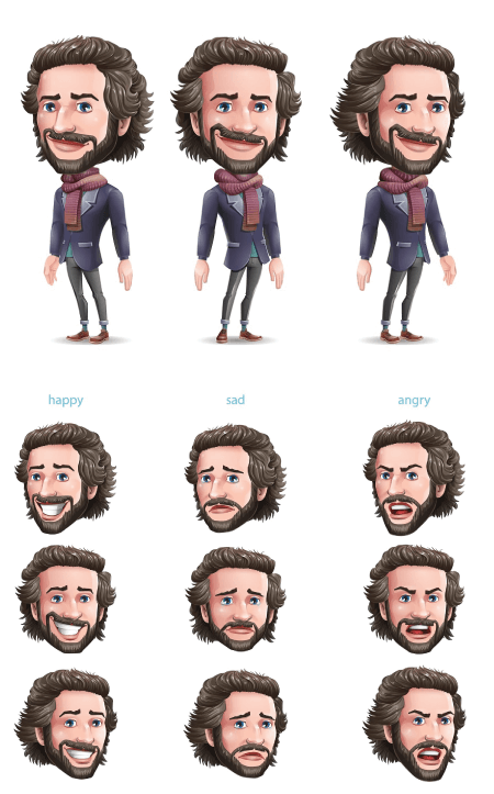 Character Design Template: Character Facial Expressions Example by Graphic Mama