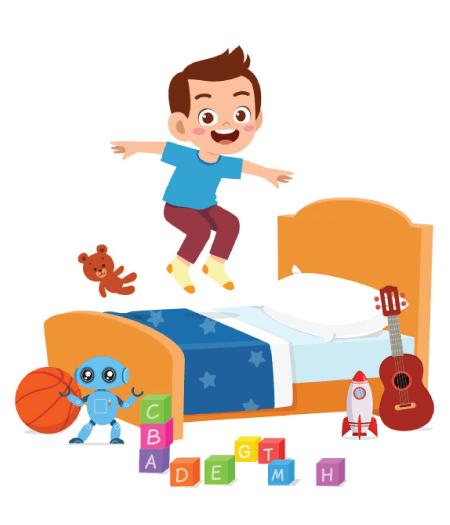 50 Free Cartoon Kid Characters : 2. Cartoon Boy Jumping on the Bed Free Vector Character
