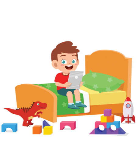 50 Free Cartoon Kid Characters : 3. Cartoon Boy with a Tablet Free Vector Character