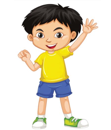 50 Free Cartoon Kid Characters : 4. Little Boy Waving Free Cartoon Kid Character Vector
