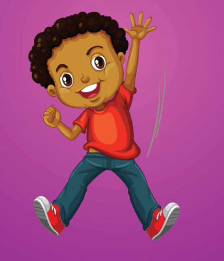50 Free Cartoon Kid Characters : 5. Boy with Jeans Waving Free Cartoon Kid Character Vector