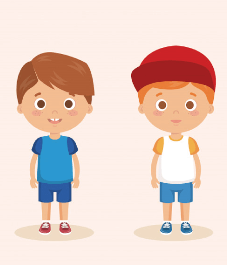 50 Free Cartoon Kid Characters : 6. Little Boy with Two Outfits Free Vector Character