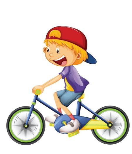 50 Free Cartoon Kid Characters : 7. Free Cartoon Kid Character Riding a Bicycle Vector
