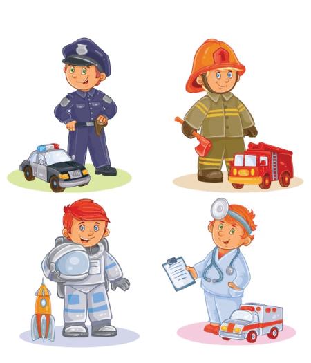 50 Free Cartoon Kid Characters : 8. Little Heroes Cartoon Characters Free Pack