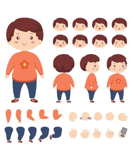 50 Free Cartoon Kid Characters : 9. Kid Character Maker Free Vector Pack