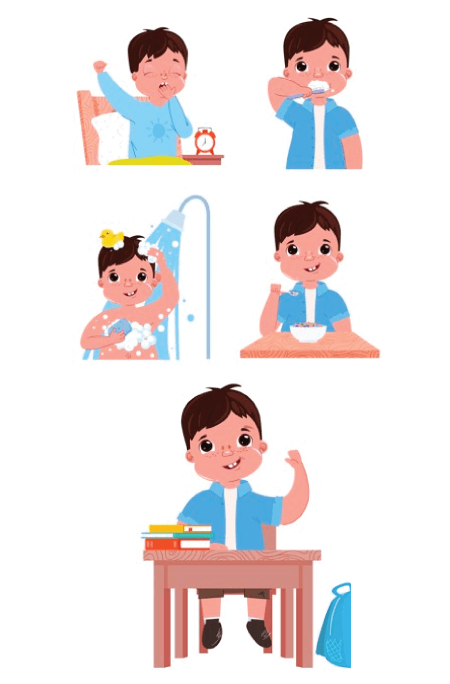 50 Free Cartoon Kid Characters : 10. Morning Routine Little Boy Free Pack