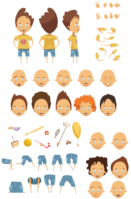 50 Free Cartoon Kid Characters : 11. Free Cartoon Kid Character Maker Vector Pack