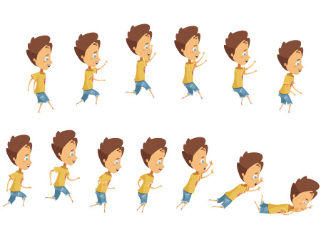 50 Free Cartoon Kid Characters : 14. Boy Animation Frames Free Vector Pack