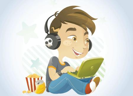 50 Free Cartoon Kid Characters : 15. Free Kid Cartoon Character on Laptop Vector
