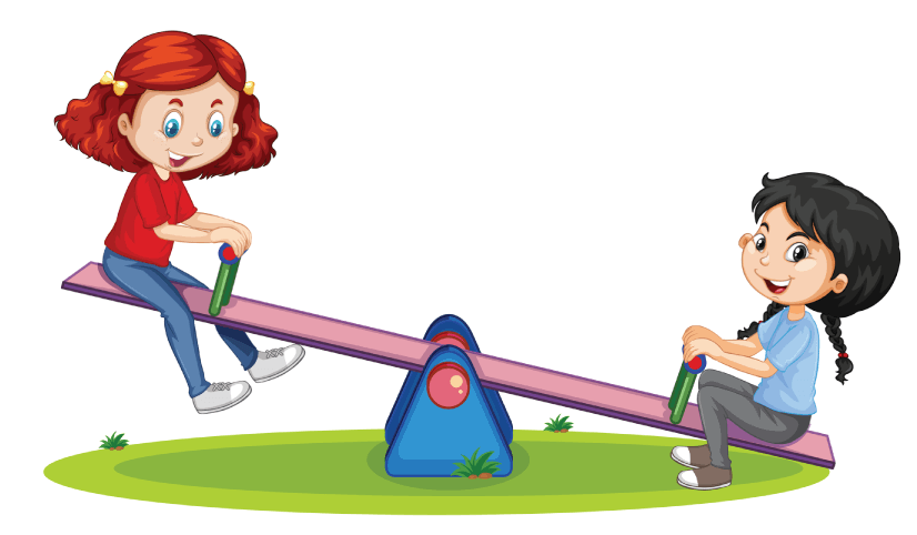 50 Free Cartoon Kid Characters : 18. Little Girls on a Seasaw Free Cartoon Kid Characters Vector
