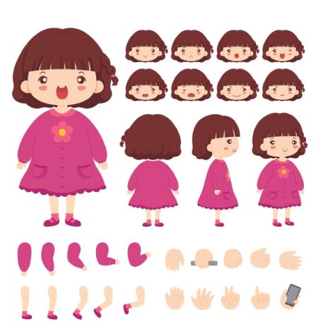 50 Free Cartoon Kid Characters : 19. Girl Character Maker Free Vector Set