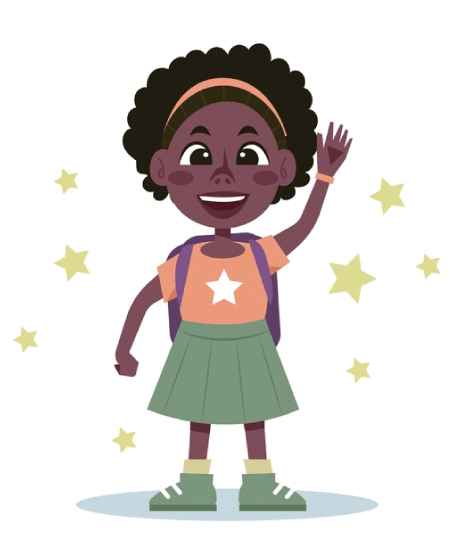 50 Free Cartoon Kid Characters : 21. First Day of School Little Girl Vector Pack