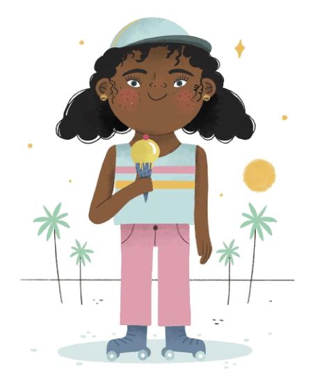 50 Free Cartoon Kid Characters : 25. Little Fancy Girl Summer Free Vector