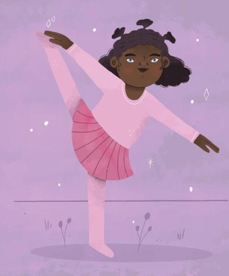 50 Free Cartoon Kid Characters : 26. Small Balerina Free Character Illustration