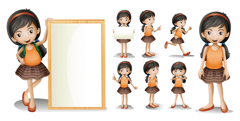 50 Free Cartoon Kid Characters : 29. Little Schoolgirl Free Presentational Pack