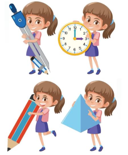 50 Free Cartoon Kid Characters : 30. Cute Little Girl at School Free Vector Set