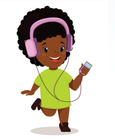 50 Free Cartoon Kid Characters : 31. Sweet Girl Listening to Music Free Vector