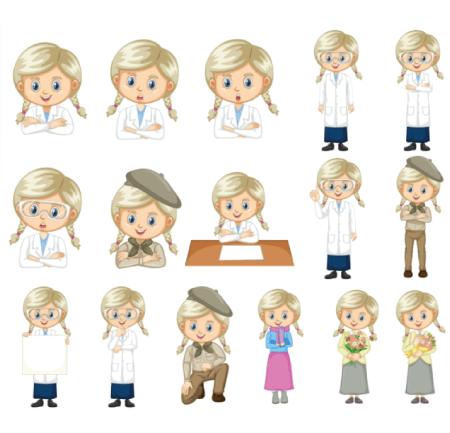 50 Free Cartoon Kid Characters : 33. Cute Scout Schoolgirl Free Vector Set