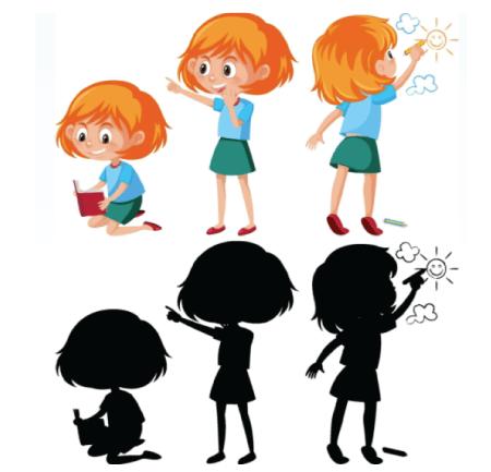 50 Free Cartoon Kid Characters : 34. Little Girl Cartoon Character Free Vector