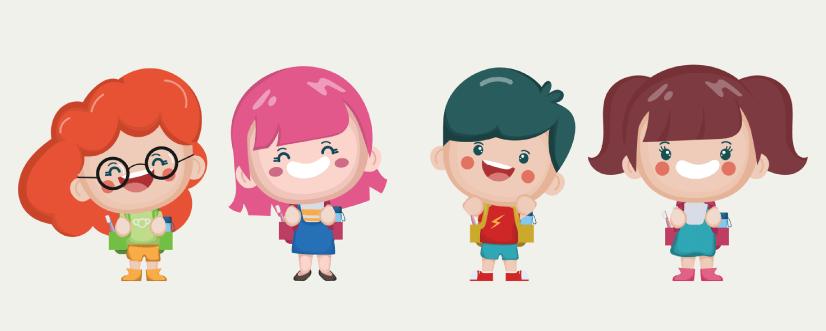 50 Free Cartoon Kid Characters : 35. Cute Toddler Characters Free Vector Set