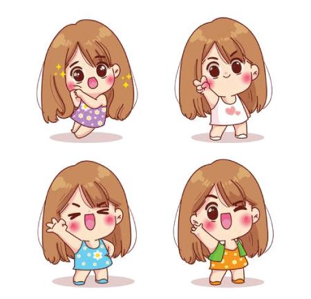 50 Free Cartoon Kid Characters : 37. Cute Toddler Girl Character Free Vector Set
