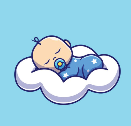 50 Free Cartoon Kid Characters : 40. Tiny Little Baby Character Sleeping on a Cloud Free Vector