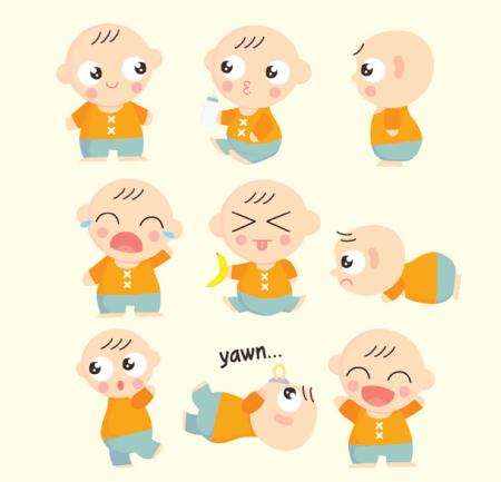 50 Free Cartoon Kid Characters : 41. Cute Baby Character Free Vectors