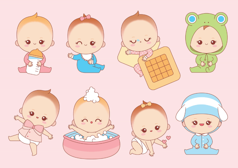 50 Free Cartoon Kid Characters : 43. Cute Free Set of Little Babies Doing Different Activities