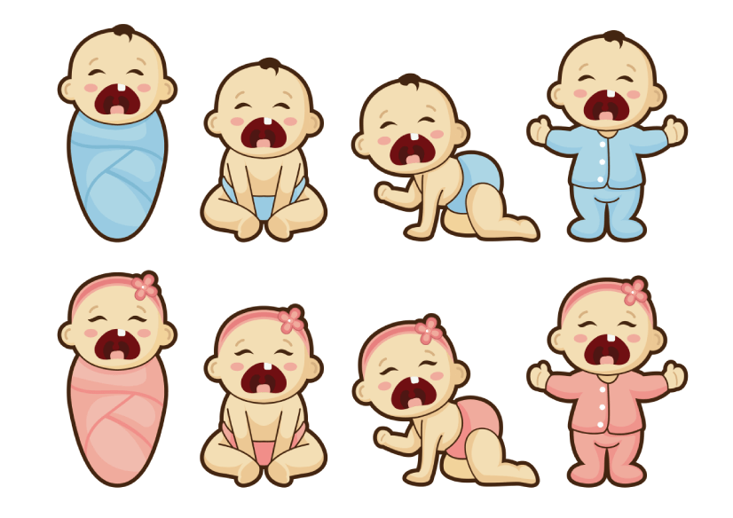 50 Free Cartoon Kid Characters : 38. Little Crying Babies Characters Free Vectors