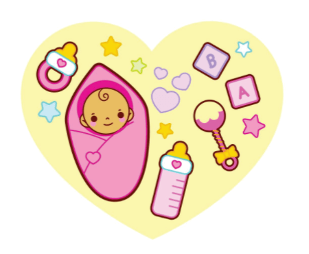 50 Free Cartoon Kid Characters : 44. For Your Little Baby with Love Free Vector: Pink