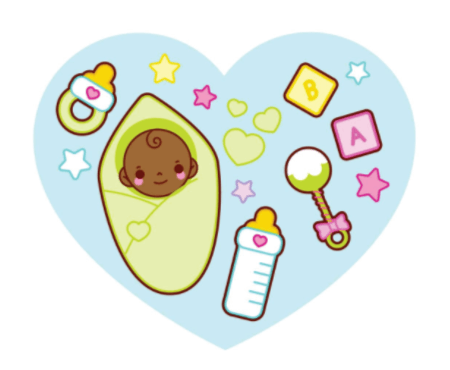 50 Free Cartoon Kid Characters : 45. For Your Little Baby with Love Free Vector: Green