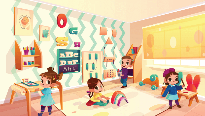 50 Free Cartoon Kid Characters : 62. Montessori RoomPre Teen Kids Playing Free Character Vector