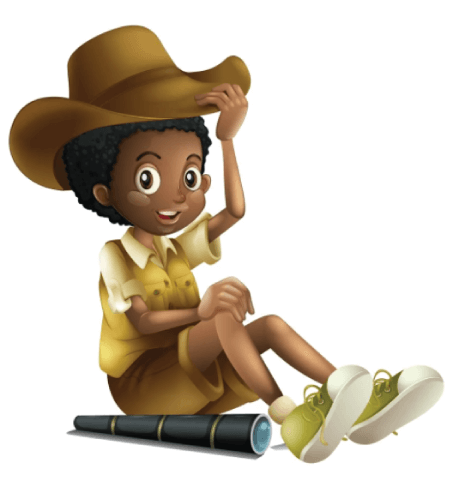 50 Free Cartoon Kid Characters : 63. Pre-Teen Kid Explorer with a Spyglass Free Character Vector