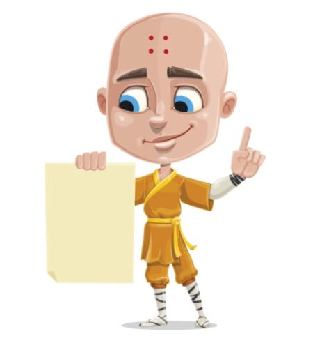 50 Free Cartoon Kid Characters : 64. Pre Teen Eastern Monk Boy Free Character Vector Set