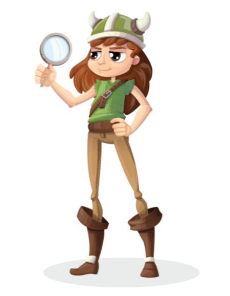 50 Free Cartoon Kid Characters : 65. Little Viking Pre-Teen Girl Investigator Free Character Vector Set